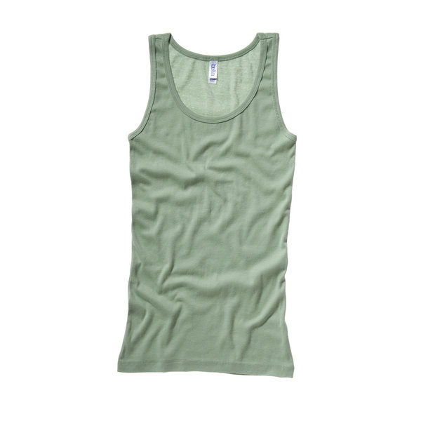 BELLA-CANVAS SHEER RIB LONGER LENGTH TANK TOP MOSS GREEN