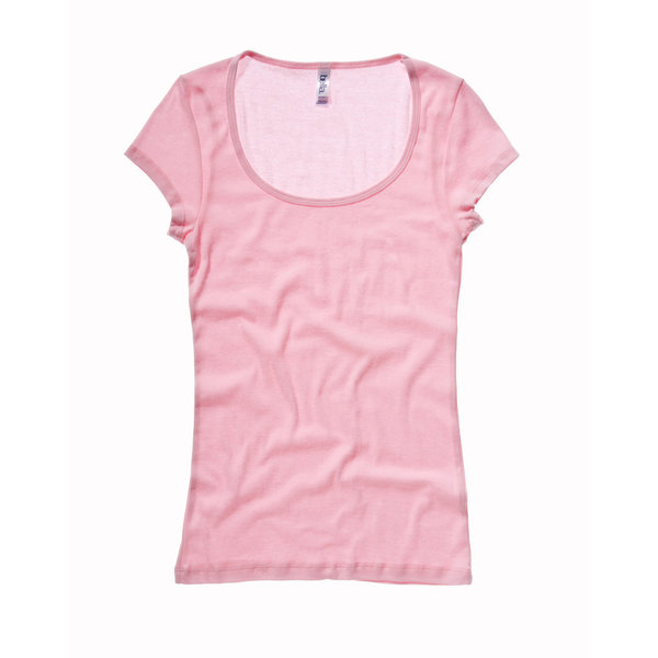 BELLA-CANVAS SHEER RIB SS SCOOP NECK T-SHIRT PINK